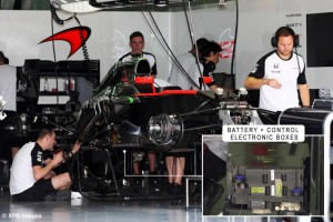 The McLaren MP4-30 is prepared in the pit garage. 26.03.2015. Formula 1 World Championship, Rd 2, Malaysian Grand Prix, Sepang, Malaysia, Thursday. - www.xpbimages.com, EMail: requests@xpbimages.com - copy of publication required for printed pictures. Every used picture is fee-liable. © Copyright: Photo4 / XPB Images