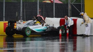 Lewis Hamilton (GBR) Mercedes AMG F1 crashes in FP2 at Turn 10 at Formula One World Championship, Rd7, Canadian Grand Prix, Practice, Montreal, Canada, Friday 5 June 2015.