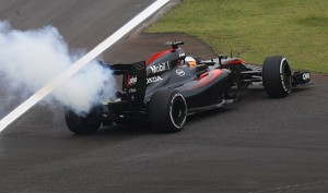 Interlagos, Sao Paulo, Brazil. Friday 13 November 2015. Fernando Alonso, McLaren MP4-30 Honda pulls off the track with a smoking engine. World Copyright: Alastair Staley/LAT Photographic. ref: Digital Image _R6T2867